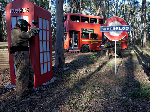 Attacking the Delta Force Paintball Appin London Bus